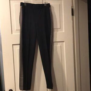 Isaac Mizrahi black w/ grey tuxedo stripe pants 0